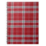 Red and White Tartan Plaid Stripes Spiral Note Books