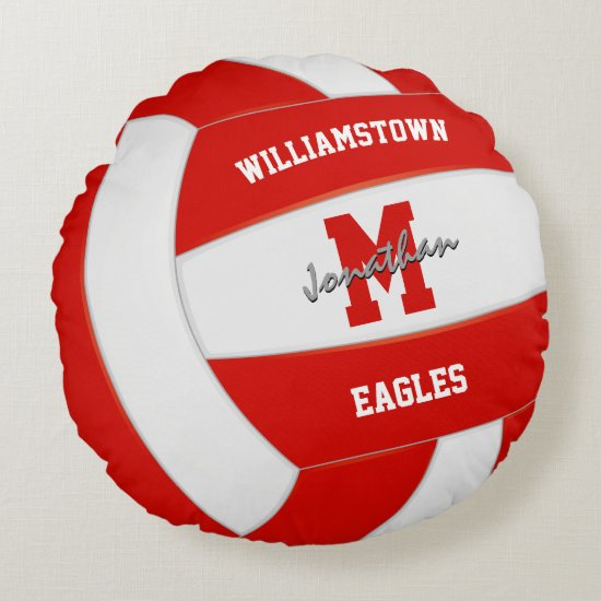 red and white team colors realistic volleyball round pillow