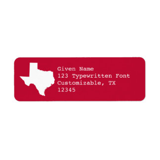 Red and White Texas Label