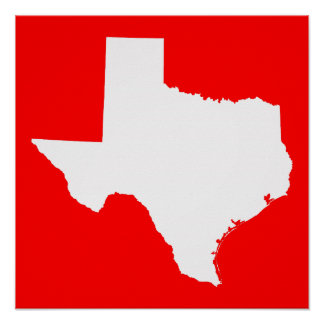 Red and White Texas Poster