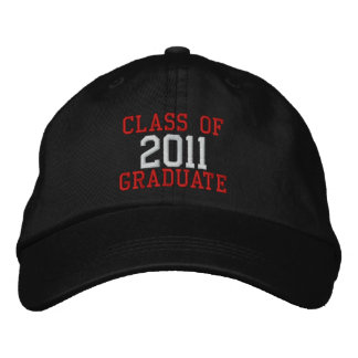 Red and White Text Class of 2011 Graduate Hat Embroidered Hat