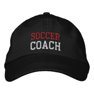 Red and White Text Soccer Coach Hat Embroidered Hats