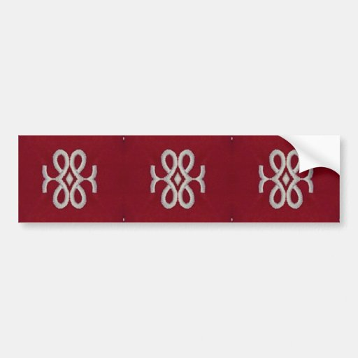 Red and White Textile Pattern Car Bumper Sticker