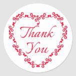 Red And White Thank You Floral Heart Wedding Party Classic Round Sticker