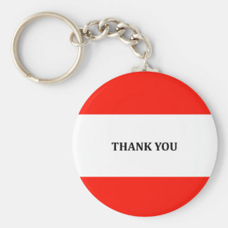 Red and white Thank you gifts Basic Round Button Keychain