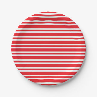 Red and White Thick and Thin Stripes Paper Plate