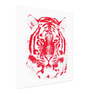 Red and White Tiger Face Close Up Canvas Print
