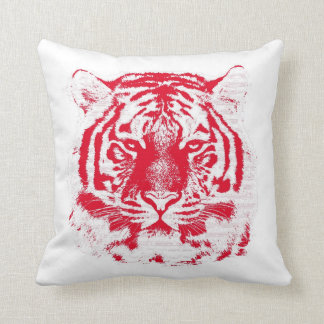 Red and White Tiger Face Close Up Pillow