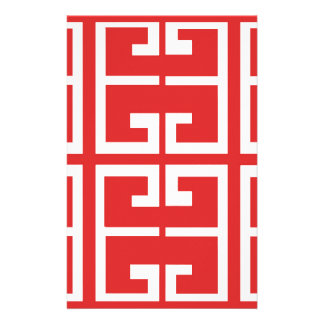 Red and White Tile Stationery