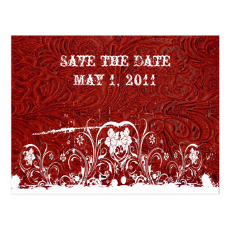 Red and White Tooled Leather Save the Date Postcard