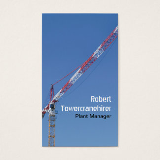 Red and white tower crane business card