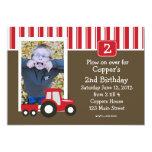 "Red and White tractor Birthday Invitation 5"" X 7"" Invitation Card"