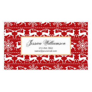 Red and White Traditional Christmas Deer Business Card