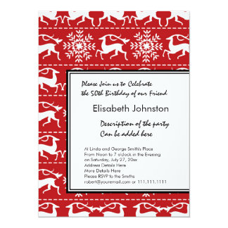 Red and White Traditional Christmas Deer Card