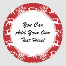 Red and White Traditional Christmas Deer Classic Round Sticker