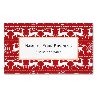 Red and White Traditional Christmas Deer Magnetic Business Card
