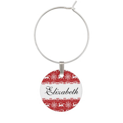 Red and White Traditional Christmas Deer Wine Glass Charms