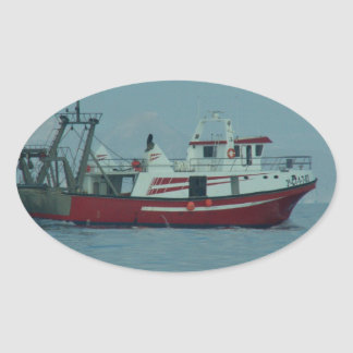 Red And White Trawler Oval Sticker