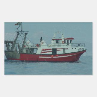 Red And White Trawler Rectangular Sticker