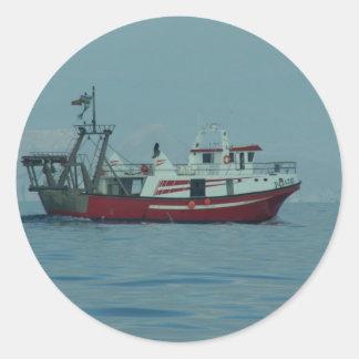 Red And White Trawler Classic Round Sticker