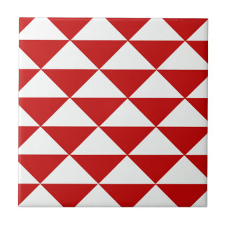 Red and White Triangles Small Square Tile