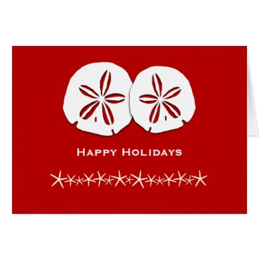 Beach Themed Red and White Tropical Themed Christmas Card