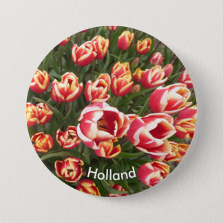 Red and White Tulip Field Holland Button
