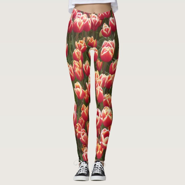 Red and White Tulip Legging