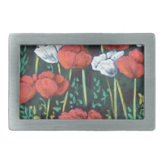 red and white tulips rectangular belt buckle
