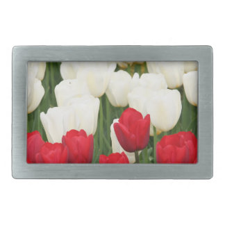Red and White Tulips Buckle Rectangular Belt Buckles