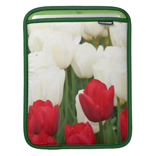 Red and White Tulips iPad Sleeve