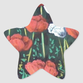 red and white tulips star sticker