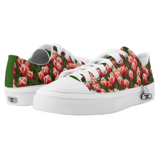Red and White Tulips Zipz Low Top Shoes