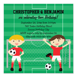 Red and White Twin Boys Soccer v2 Birthday Party Card