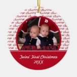 Red and White Twins First Christmas Photo Ornament
