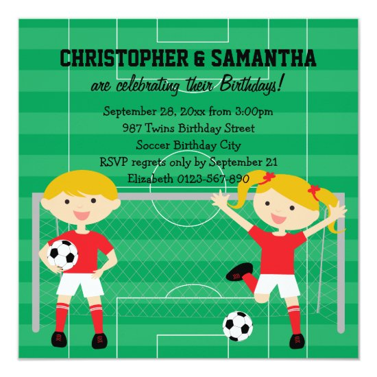 Red and White Twins Soccer v2 Birthday Party Invitation