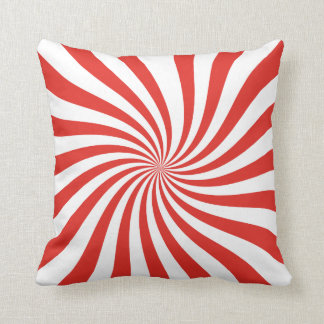Red and White Twirl Pattern Throw Pillow