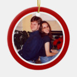 Red and White - Two Sided Double-Sided Ceramic Round Christmas Ornament