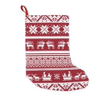 Red and White Ugly Christmas Sweater patterns Small Christmas Stocking