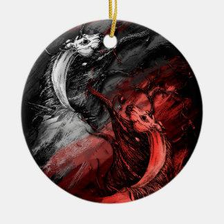 Red and White Unicorns Ceramic Ornament