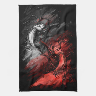 Red and White Unicorns Kitchen Towels