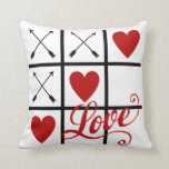 Red and White Valentine's Day Pillow with red hear