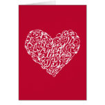 Red and White Valentine's Day Typography Heart Card