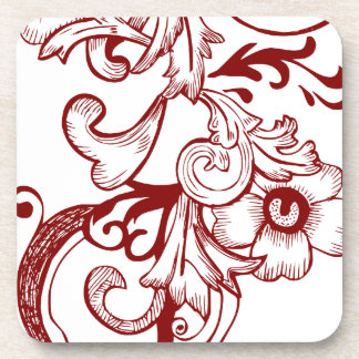 Red and White Vintage Design Floral Coasters