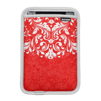 Red And White Vintage Floral Lace Sleeve For iPad Mini