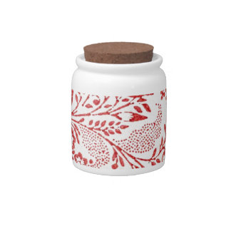Red and White Vintage Floral Print Candy Jars