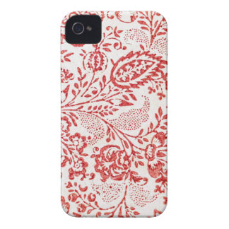Red and White Vintage Floral Print iPhone 4 Covers