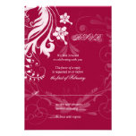 Red and White Vintage Floral Wedding RSVP Card Custom Invites