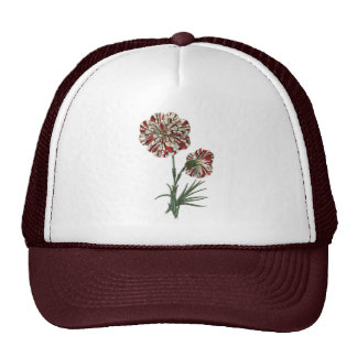 Red and White Vintage Flower Trucker Hat