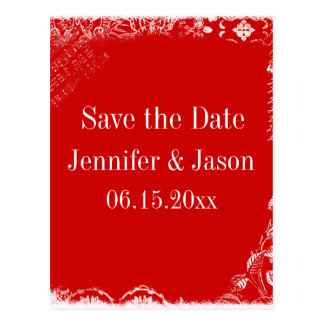 Red and White Vintage Save the Date Postcards